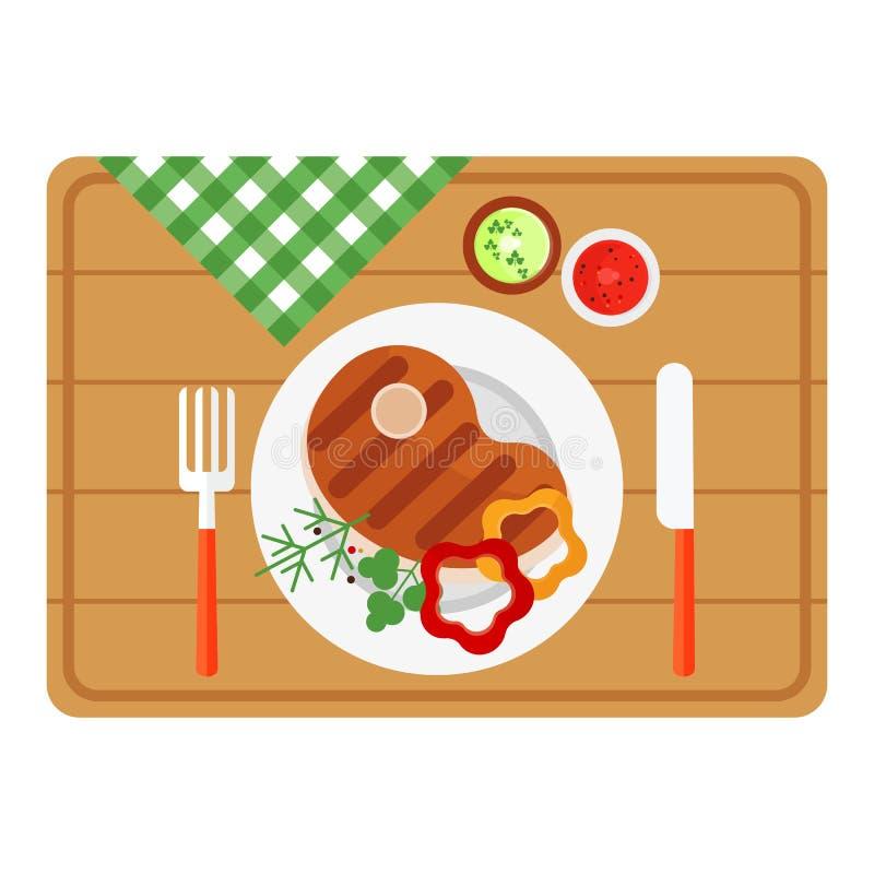 Bbq-Steak auf hölzernem Behälter lizenzfreie abbildung