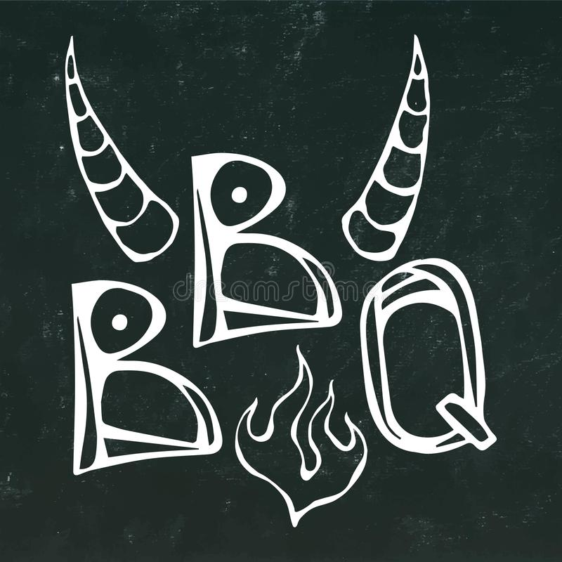 BBQ Steak Concept Lettering with Fire and Bull Horns. Meat Logo. on a Black Chalkboard Background.. Realistic royalty free illustration