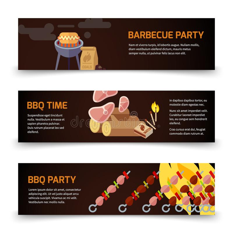 BBQ and steak horizontal banners template. Meat, coal, firewood and barbecue on a black background stock illustration