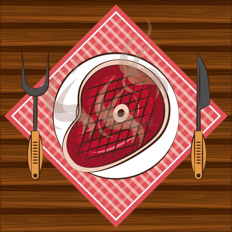 Bbq steakhouse ingredients on table. With dish and tablecloth cartoon vector illustration graphic design royalty free illustration