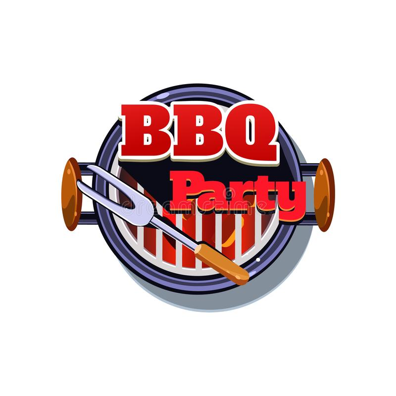 BBQ Sticker. Vector Illustration. BBQ Sticker. Bright Vector Illustration isolated on white Background royalty free illustration