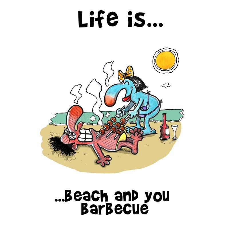 BBQ on summer holiday on beach royalty free illustration