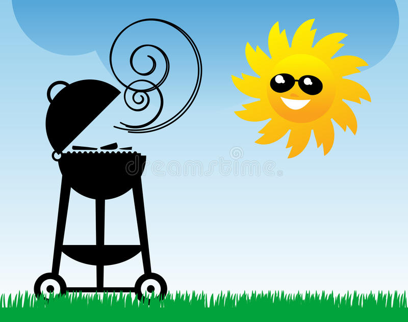 BBQ and Sun. Abstract illustration stock illustration