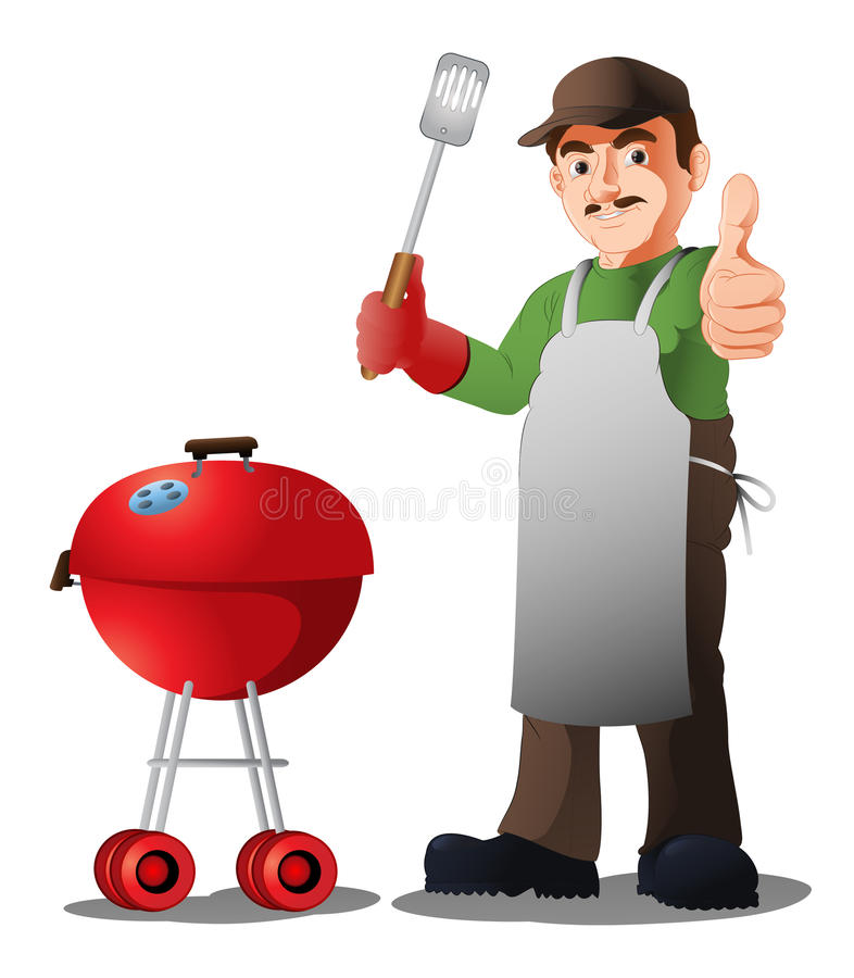 Bbq szef kuchni ilustracja wektor