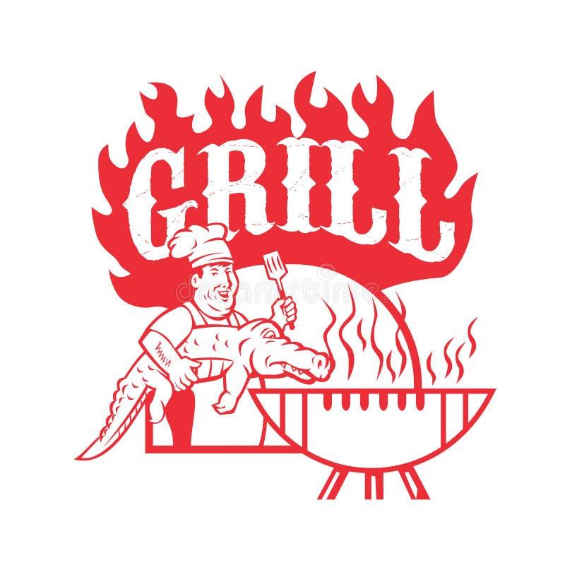 BBQ szef kuchni Niesie Gator grilla Retro ilustracji