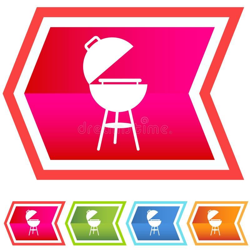 bbq szewronu ikony neon set ilustracja wektor