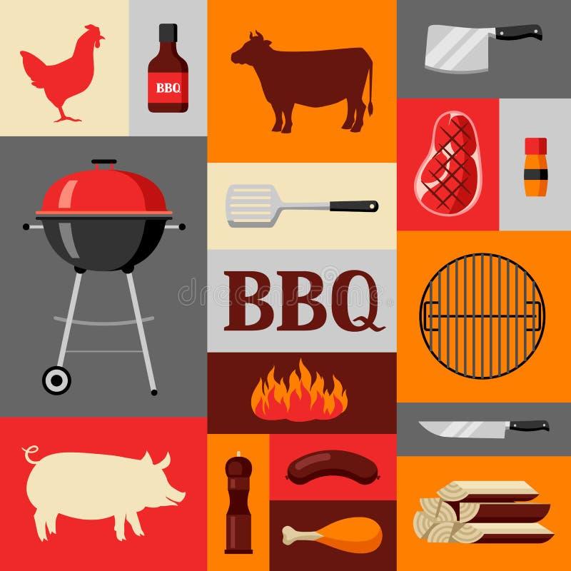Bbq tło z grill ikonami i przedmiotami royalty ilustracja