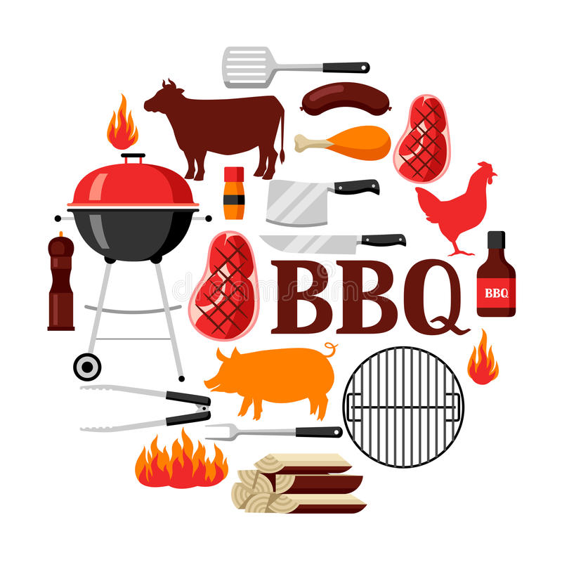 Bbq tło z grill ikonami i przedmiotami ilustracji