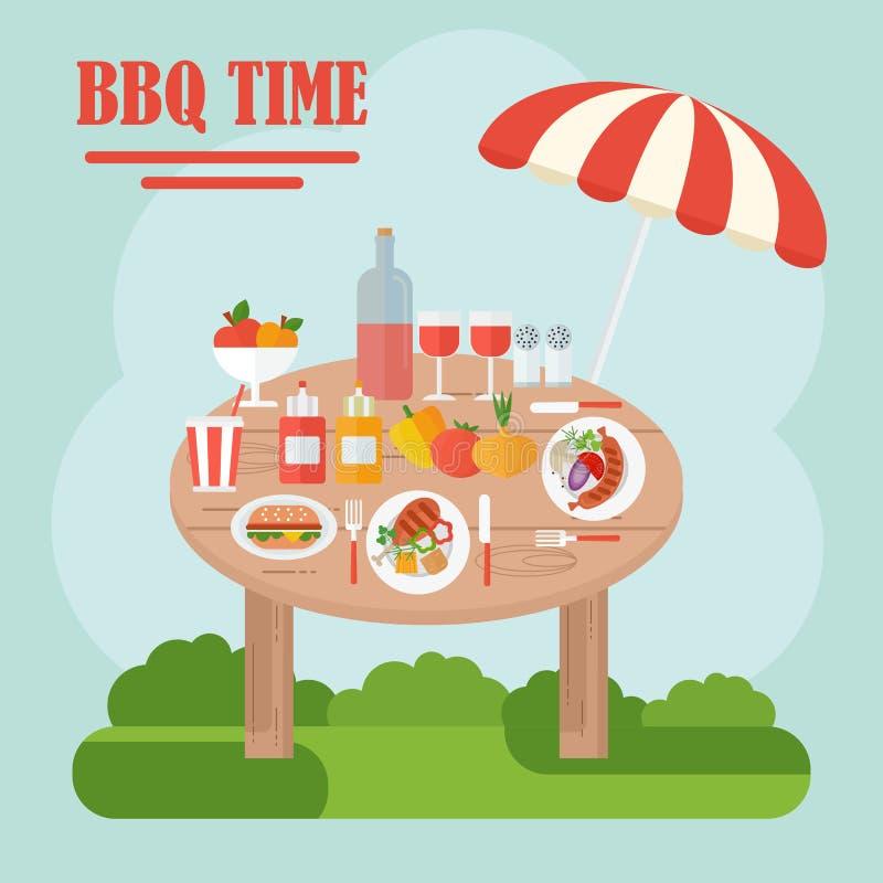 Bbq-tabell med mat stock illustrationer