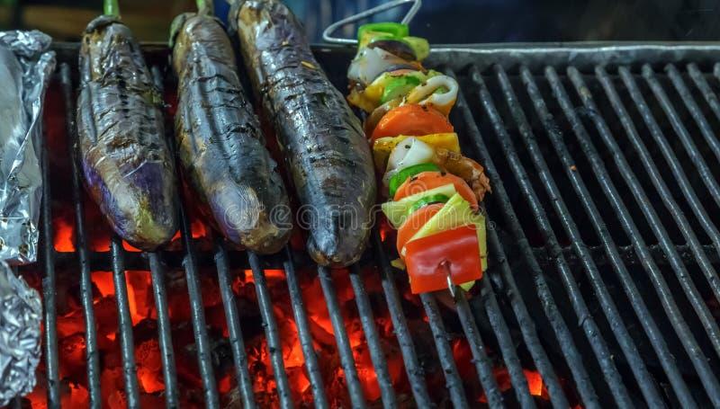 BBQ tailandês dos vegetais do alimento da rua fotografia de stock royalty free