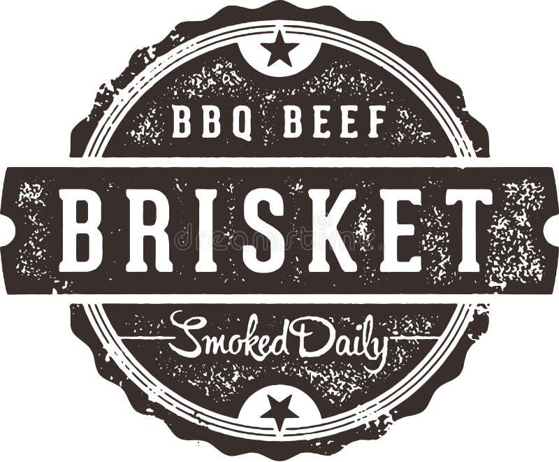 BBQ Teken van het Borststuk het Uitstekende Restaurant vector illustratie