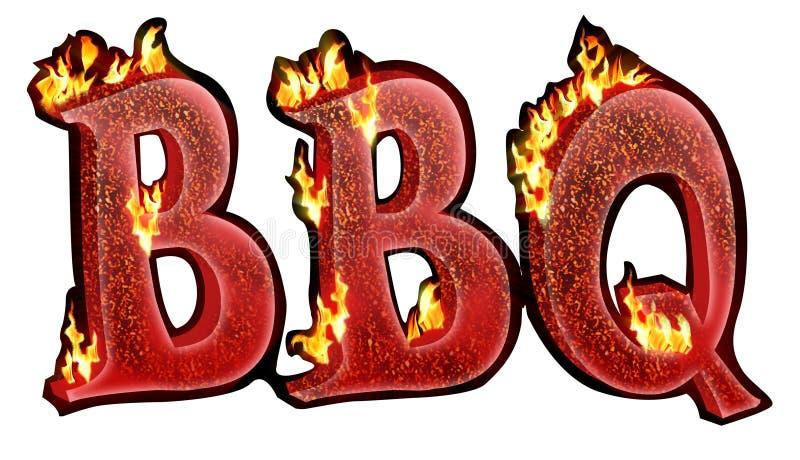 BBQ tekst stock illustratie