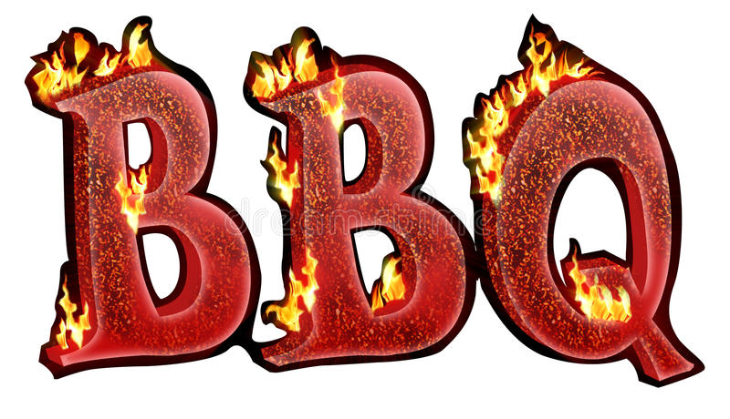 Bbq-text stock illustrationer