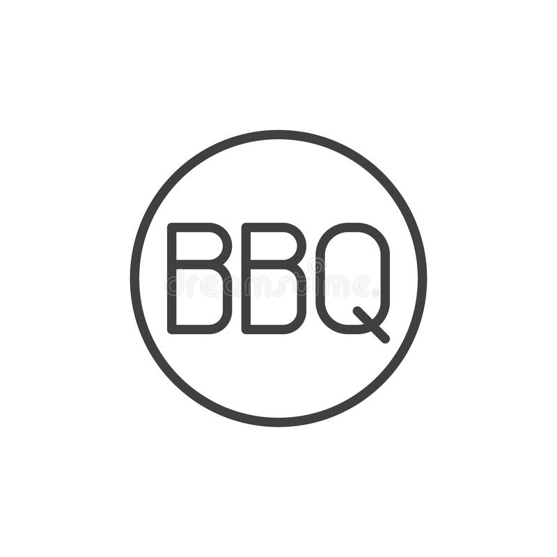 BBQ text in a circle line icon vector illustration