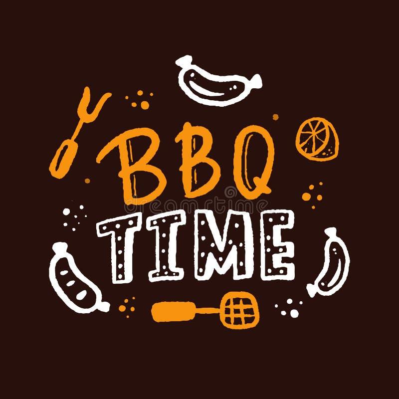 BBQ tijd Hand het getrokken die van letters voorzien over grill op bord wordt geïsoleerd Vector illustratie Barbecuetekst voor af royalty-vrije illustratie