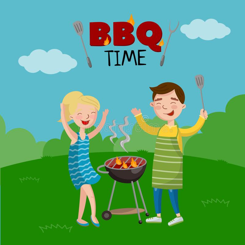 BBQ time banner, cartoon style poster with people on the lawn cooking barbecue, vector Illustration. With flaming BBQ grill vector illustration