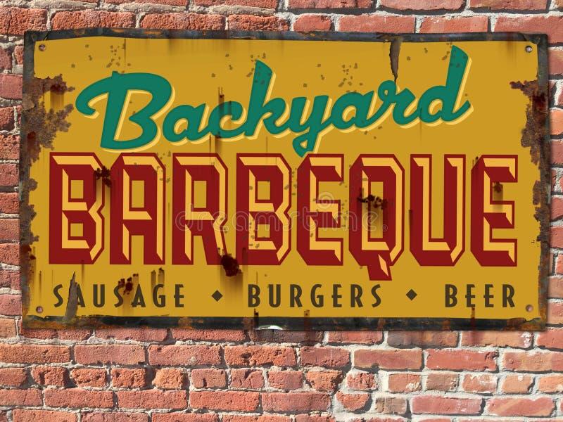 BBQ Tin Sign do assado do vintage fotografia de stock