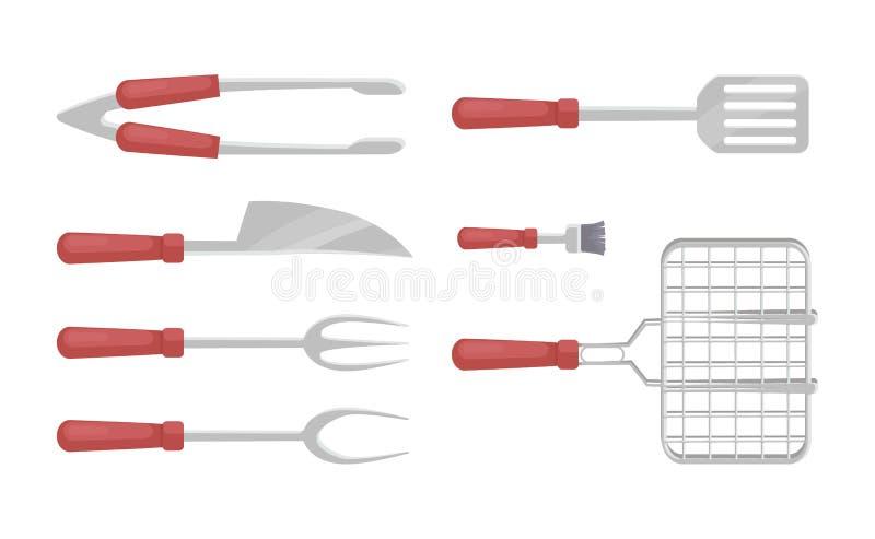 Bbq-Tischbesteck-Grill-Ikonen stellten Vektor-Illustration ein stock abbildung