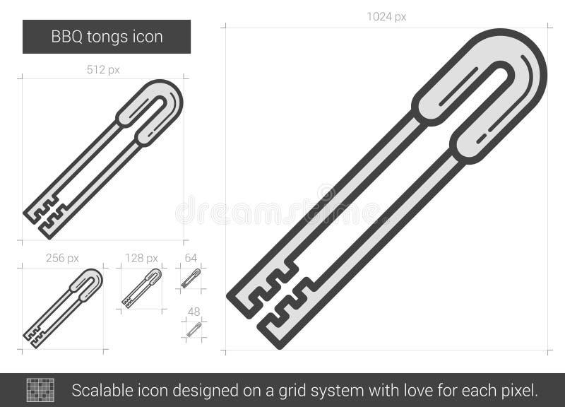 BBQ tongs kreskowa ikona ilustracja wektor