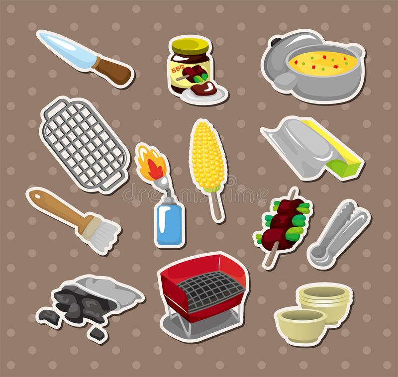 Bbq tools stickers royalty free illustration