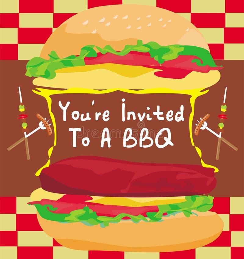 BBQ uitnodiging van de Partij de Grote Hamburger royalty-vrije illustratie