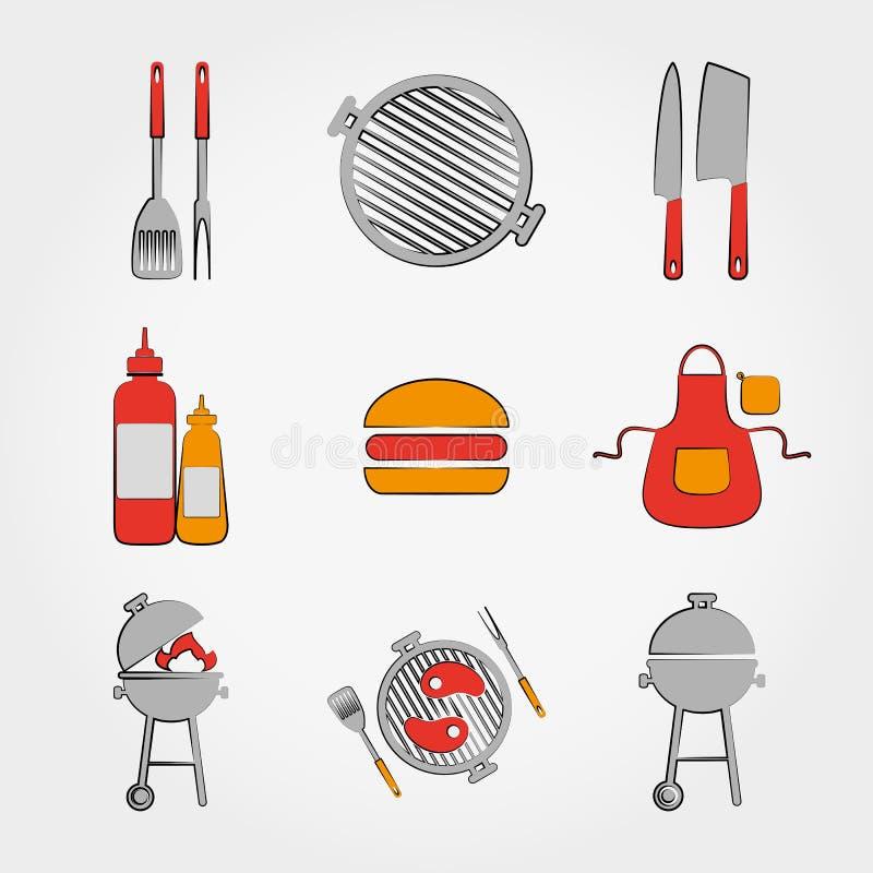 Bbq-uppsättning stock illustrationer
