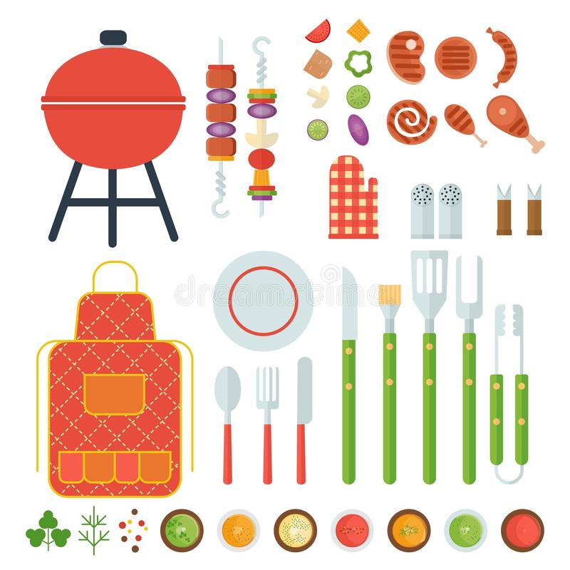 Bbq-uppsättning av hjälpmedel stock illustrationer