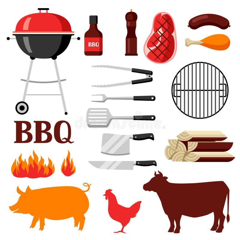 Bbq ustawiający grill ikony i przedmioty royalty ilustracja