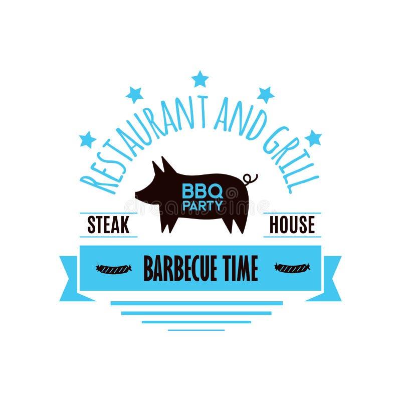 BBQ van het de barbecuerestaurant van het grillvlees van het de partij doorsteken de vectorproducten thuis diner het roosteren va vector illustratie