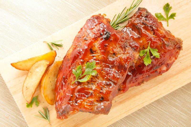 BBQ varkensvleesribben royalty-vrije stock afbeeldingen