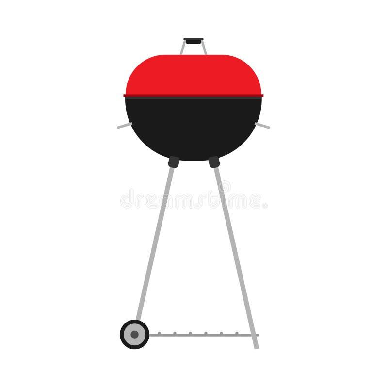 BBQ vecot czerwonej ikony grilla karmowy przyjęcie Mięsny kucharstwo wołowiny ogienia menu Grilla lata pykniczny płaski wakacyjny ilustracja wektor