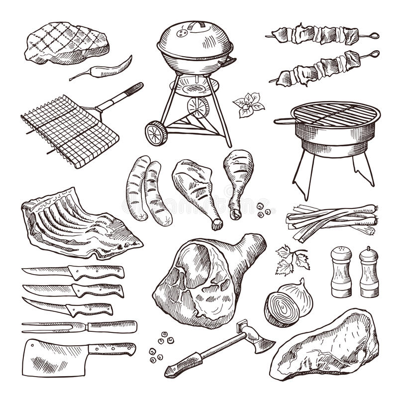 Bbq vector hand drawn illustration set. Grilled meat and other accessories for barbecue party. Grill meat for bbq, barbecue sausage picnic drawing vector illustration