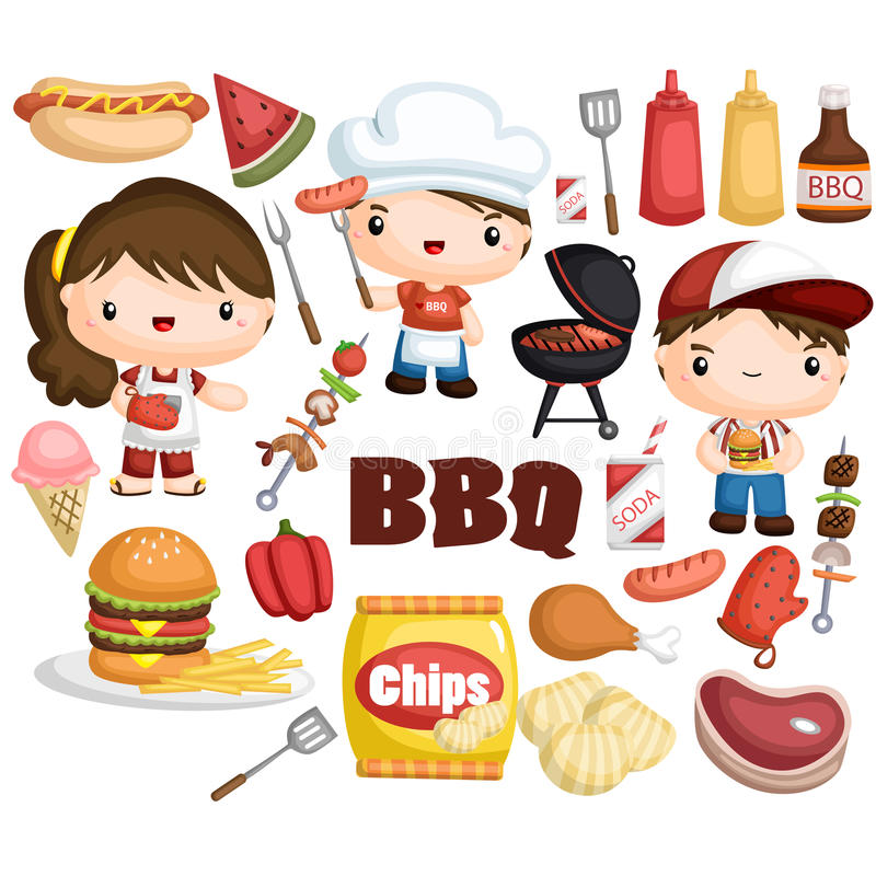 BBQ vector set. With many different item stock illustration