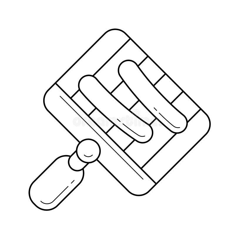 Bbq-Wanne für Grill auf Flammenvektorlinie Ikone vektor abbildung