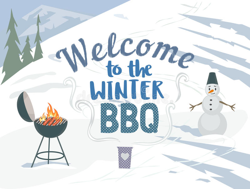 BBQ winter picnic. Winter outdoors concept. Cartoon retro style poster. Welcome invitation to barbecue picnic. Season holiday leisure banner background. Mountain stock illustration