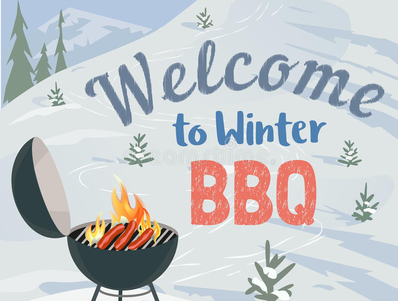 BBQ winter picnic. Winter outdoors concept. Cartoon retro style poster. Welcome invitation to barbecue picnic. Season holiday leisure banner background. Mountain royalty free illustration
