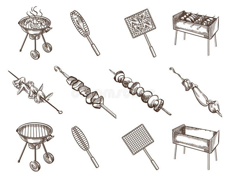BBQ wizerunku set royalty ilustracja