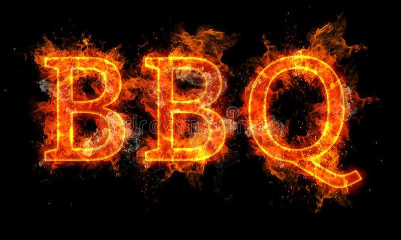 BBQ Word Written Text In Flames Stock Illustration ...