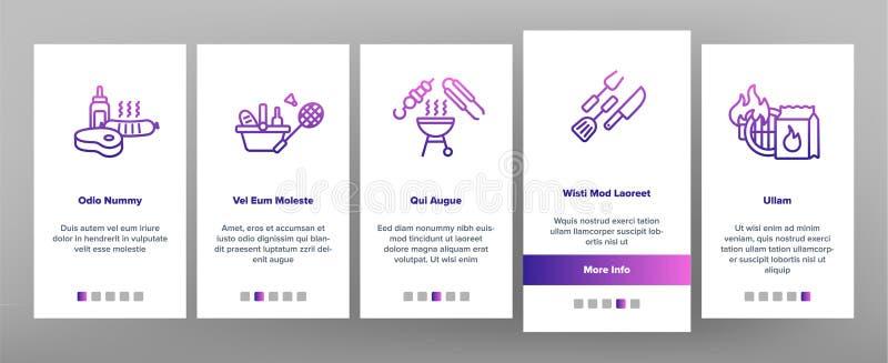 BBQ wyposażenia Onboarding App strony Wektorowy Mobilny ekran ilustracji