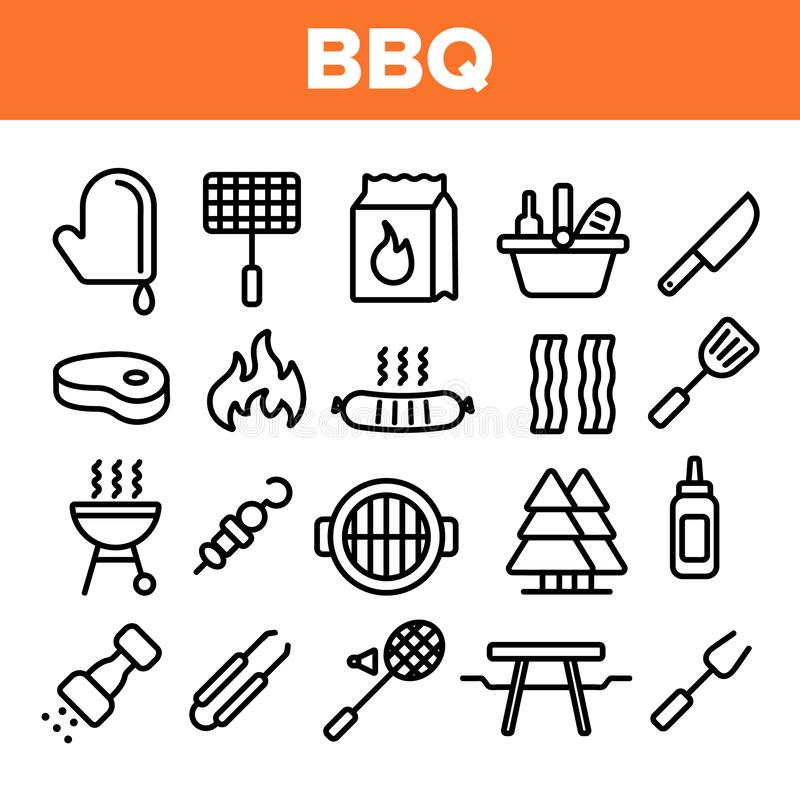 BBQ wyposażenie, narzędzie Liniowe Wektorowe ikony Ustawiać ilustracji