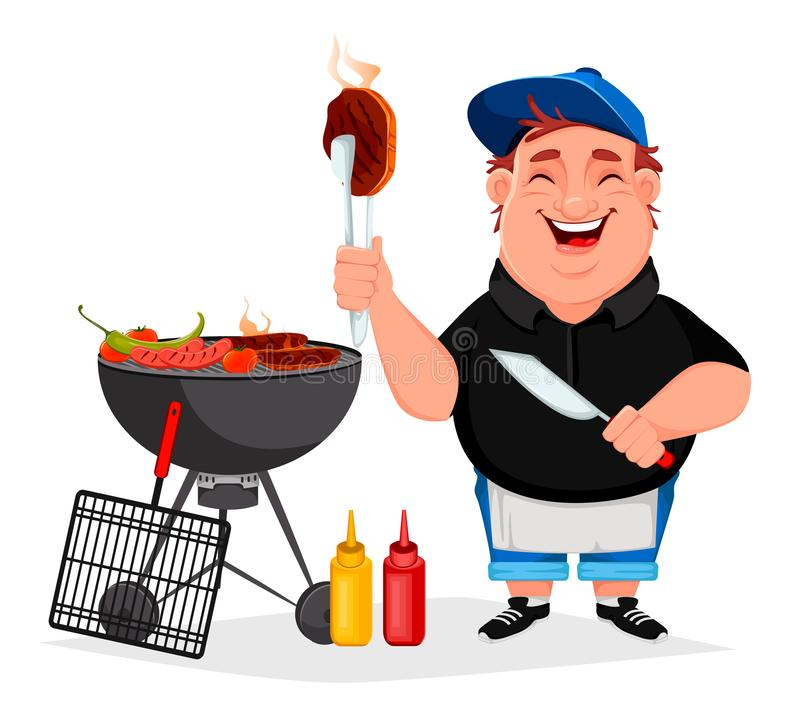 BBQ. Young cheerful man cooks grilled food. Barbecue party. Vector illustration on white background royalty free illustration