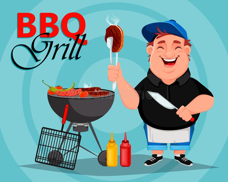 BBQ. Young cheerful man cooks grilled meat. Barbecue party. Vector illustration vector illustration