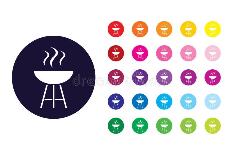 BBQ znaka ikona BBQ koloru symbol ilustracji