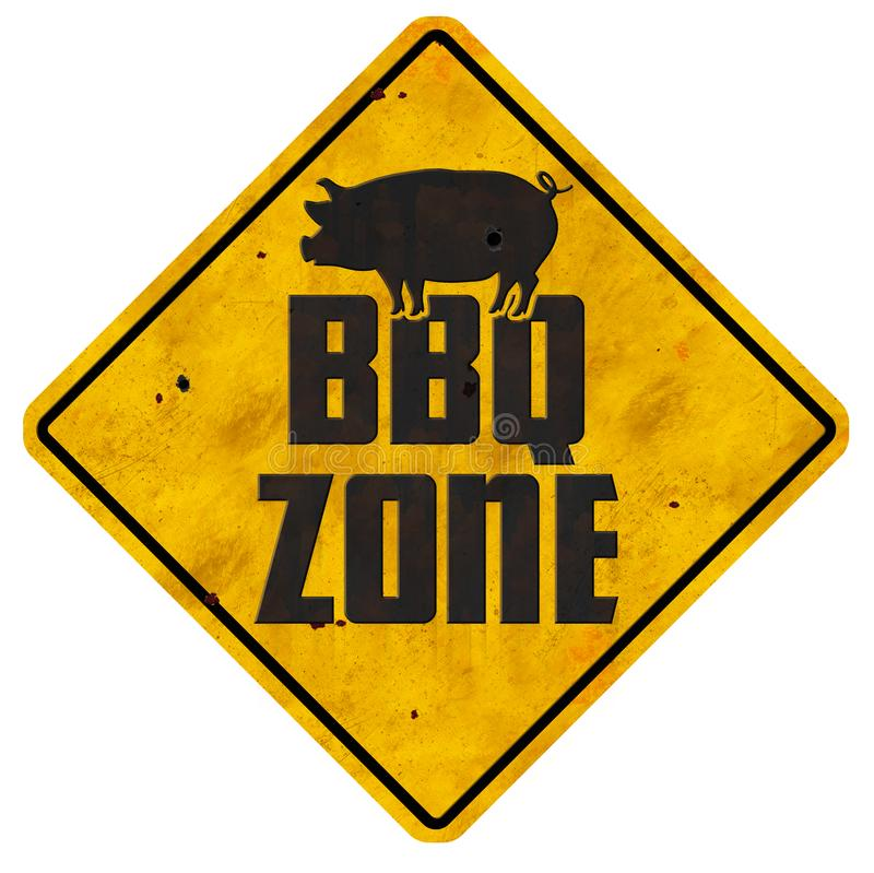BBQ Zone Sign Barbecue Grill area vintage retro backyard pork royalty free stock images