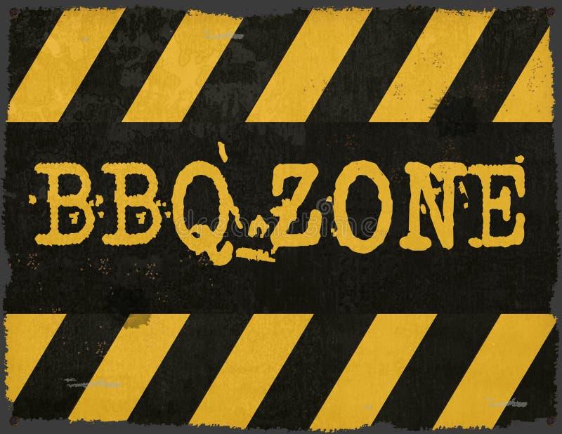 BBQ Zone Warning Sign Metal Grunge Rustic royalty free stock photos