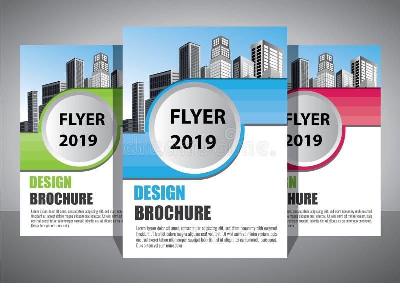 BBrochure设计,盖子现代布局,年终报告,海报,在A4的飞行物与五颜六色的三角 向量例证