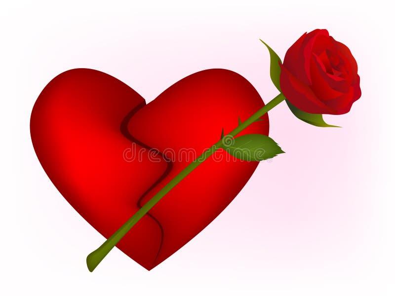 bbroken czerwoną różę serca ilustracji