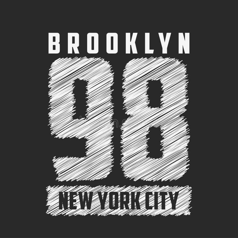 BBrooklyn, τυπογραφία πόλεων της Νέας Υόρκης για τα ενδύματα σχεδίου, μπλούζες διανυσματική απεικόνιση