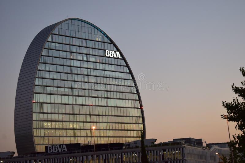 BBVA-` s förlägger högkvarter i Las Tablas, Madrid arkivfoto