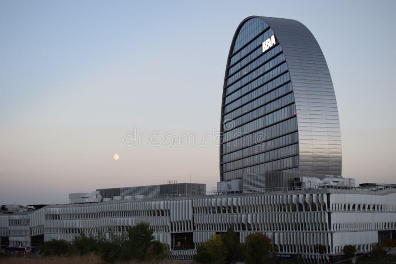 BBVA-` s förlägger högkvarter i Las Tablas, Madrid arkivbilder